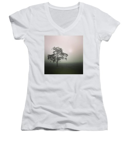 A Walk Through The Clouds #fog #nuneaton Women's V-Neck (Athletic Fit)