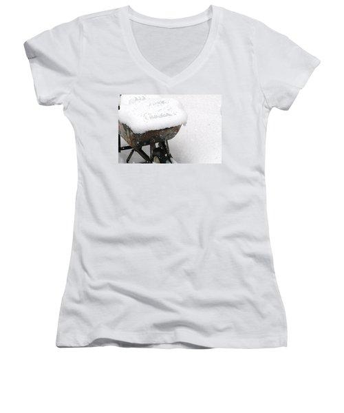 Women's V-Neck T-Shirt (Junior Cut) featuring the photograph A Wheel Barrel Of Snow by Paul SEQUENCE Ferguson             sequence dot net