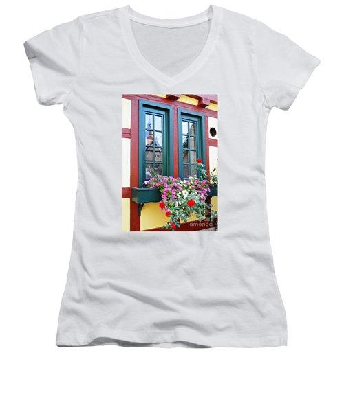A Window In Eltville  2 Women's V-Neck T-Shirt (Junior Cut) by Sarah Loft