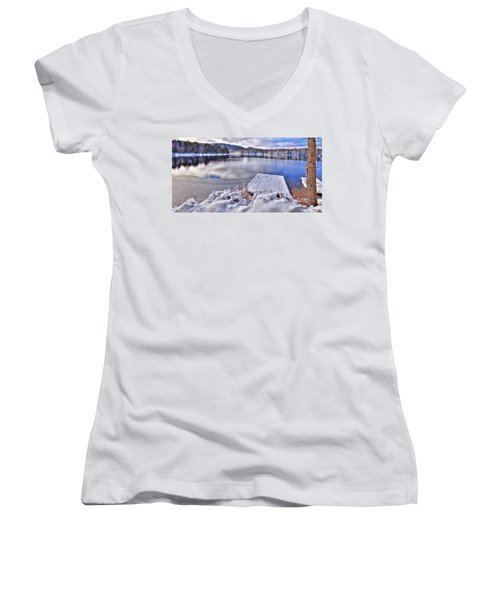 Women's V-Neck T-Shirt (Junior Cut) featuring the photograph A Winter Day On West Lake by David Patterson