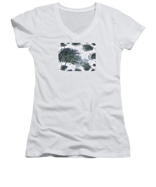 A Winter Fractal Land Women's V-Neck T-Shirt (Junior Cut) by Skyler Tipton