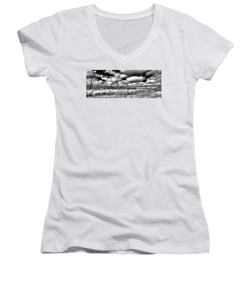 Women's V-Neck T-Shirt (Junior Cut) featuring the photograph A Winter Panorama by David Patterson