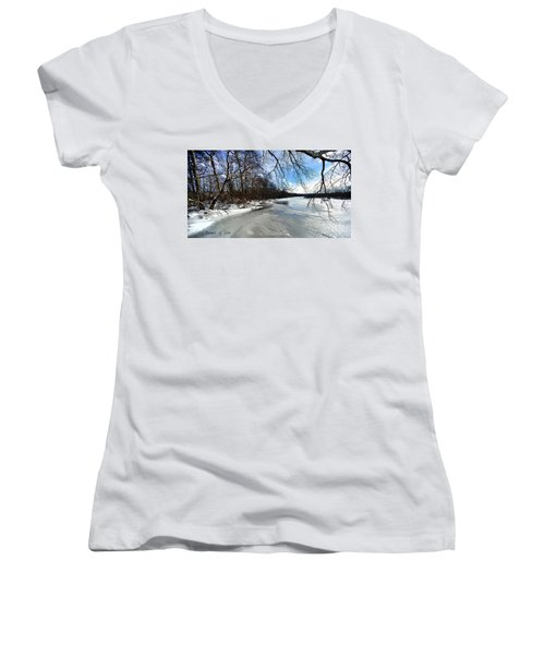 A Winters Day Women's V-Neck T-Shirt (Junior Cut) by Diane Giurco