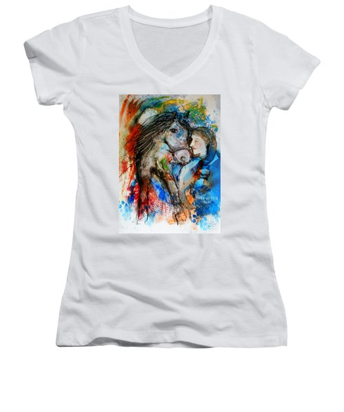 A Woman And Her Horse Women's V-Neck