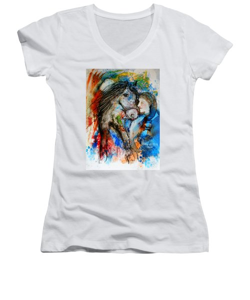 A Woman And Her Horse Women's V-Neck T-Shirt