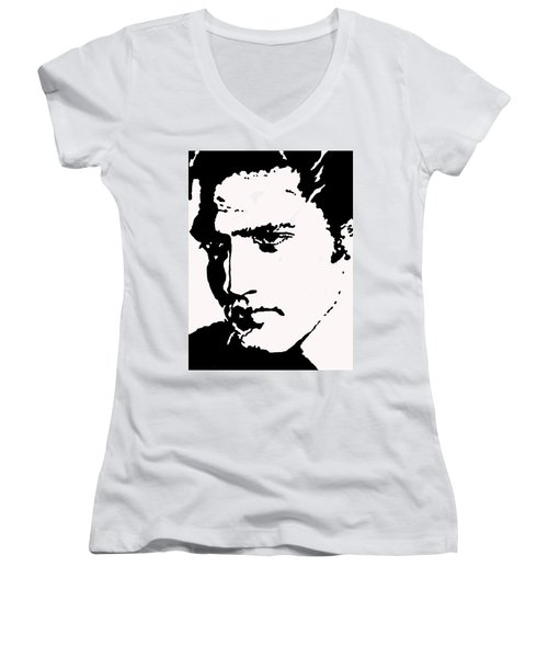 Women's V-Neck T-Shirt (Junior Cut) featuring the drawing A Young Elvis by Robert Margetts