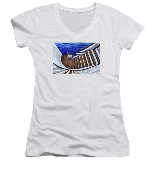 Abandon Ship Women's V-Neck T-Shirt (Junior Cut) by Paul Wear