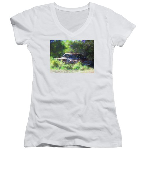 Abandoned 1950 Chevy Dop Women's V-Neck