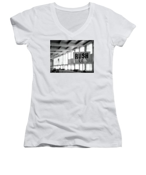Abandoned Factory, Lewiston, Maine  -48683-bw Women's V-Neck T-Shirt (Junior Cut) by John Bald