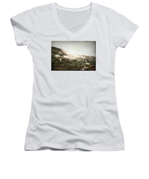 Abandoned Hotel In The Fog Women's V-Neck T-Shirt (Junior Cut) by Robert FERD Frank