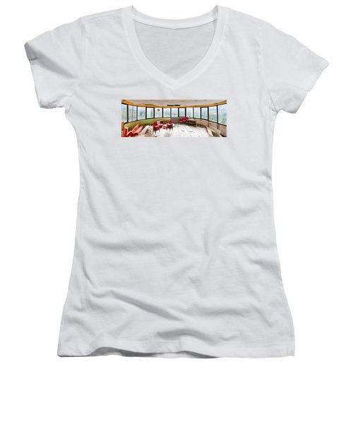 Abandoned Tower Restaurant - Urban Panorama Women's V-Neck T-Shirt