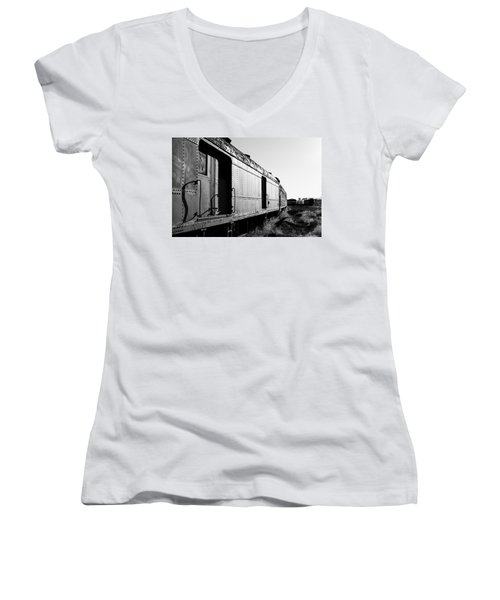Abandoned Train Cars Women's V-Neck