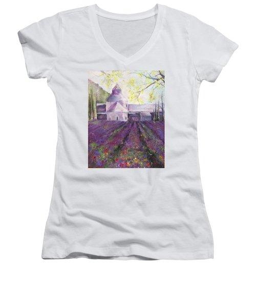Abbey Senanque    Women's V-Neck T-Shirt (Junior Cut) by Robin Miller-Bookhout