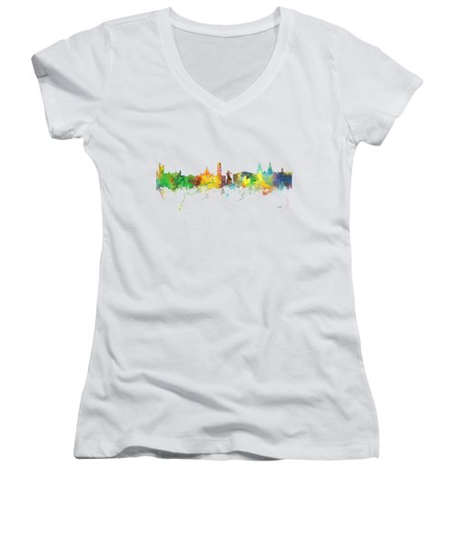 Aberdeen Scotland Skyline Women's V-Neck T-Shirt (Junior Cut) by Marlene Watson