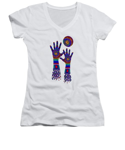 Aboriginal Hands Blue Transparent Background Women's V-Neck T-Shirt (Junior Cut) by Barbara St Jean
