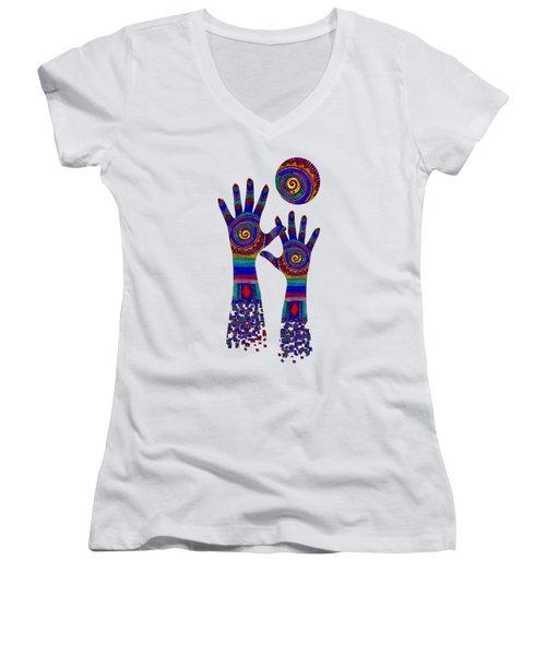 Aboriginal Hands Blue Transparent Background Women's V-Neck