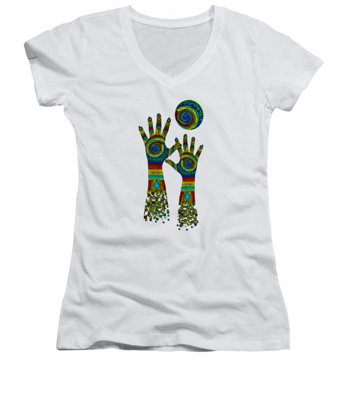 Aboriginal Hands Gold Transparent Background Women's V-Neck T-Shirt (Junior Cut) by Barbara St Jean