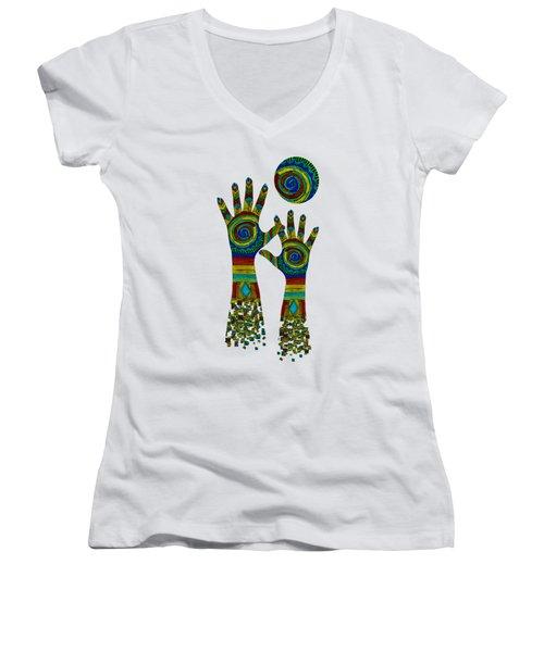 Aboriginal Hands Gold Transparent Background Women's V-Neck (Athletic Fit)