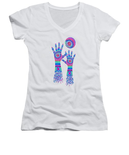 Aboriginal Hands Pastel Transparent Background Women's V-Neck T-Shirt (Junior Cut) by Barbara St Jean