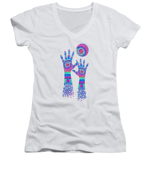 Women's V-Neck featuring the digital art Aboriginal Hands Pastel Transparent Background by Barbara St Jean