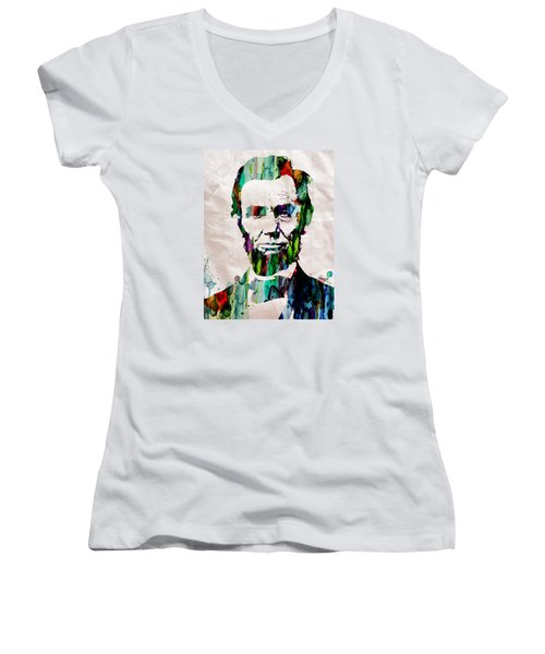 Abraham Lincoln Art Watercolor Women's V-Neck (Athletic Fit)