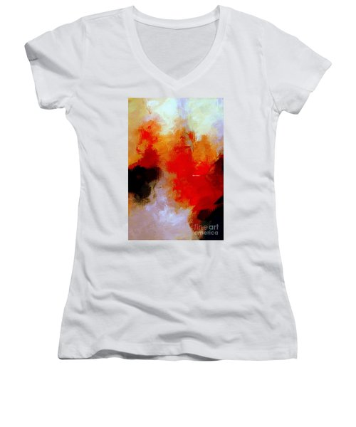 Women's V-Neck T-Shirt featuring the digital art Abstract 1909f by Rafael Salazar