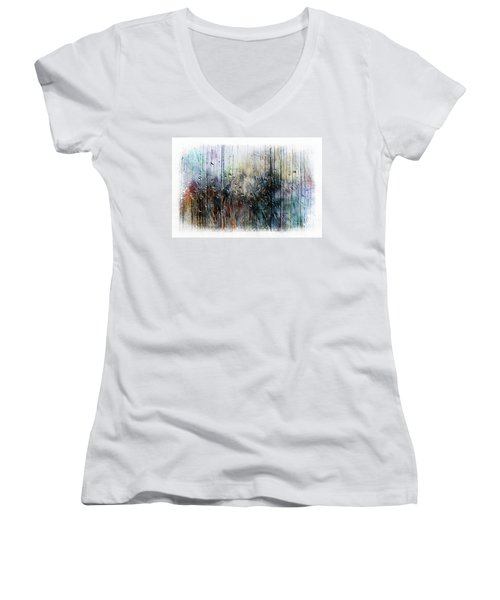 2f Abstract Expressionism Digital Painting Women's V-Neck