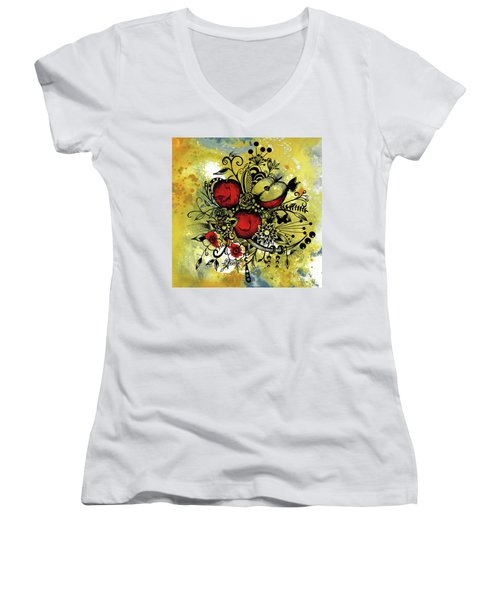 Abstract Acrylic Painting Apples II Women's V-Neck T-Shirt (Junior Cut) by Saribelle Rodriguez