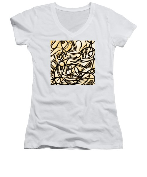 Abstract Art Gold 2 Women's V-Neck T-Shirt