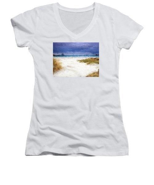 Women's V-Neck T-Shirt (Junior Cut) featuring the digital art Abstract Beach Horizon by Anthony Fishburne