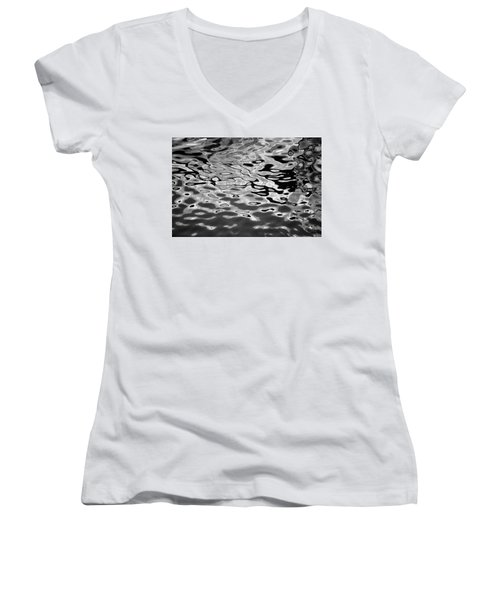 Abstract Dock Reflections I Bw Women's V-Neck (Athletic Fit)