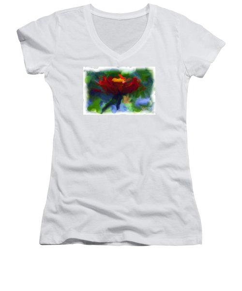 Abstract Flower Expressions 2 Women's V-Neck (Athletic Fit)