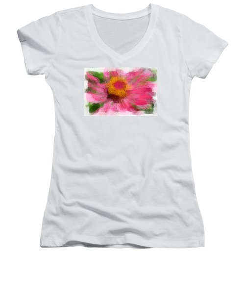 Abstract Flower Expressions Women's V-Neck (Athletic Fit)
