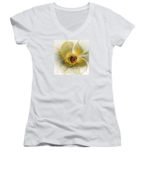 Abstract Flower With Silky Elegance Women's V-Neck