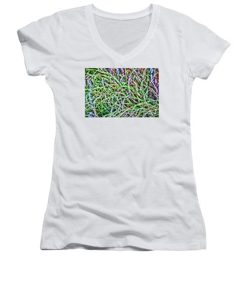 Abstract Grass Women's V-Neck (Athletic Fit)