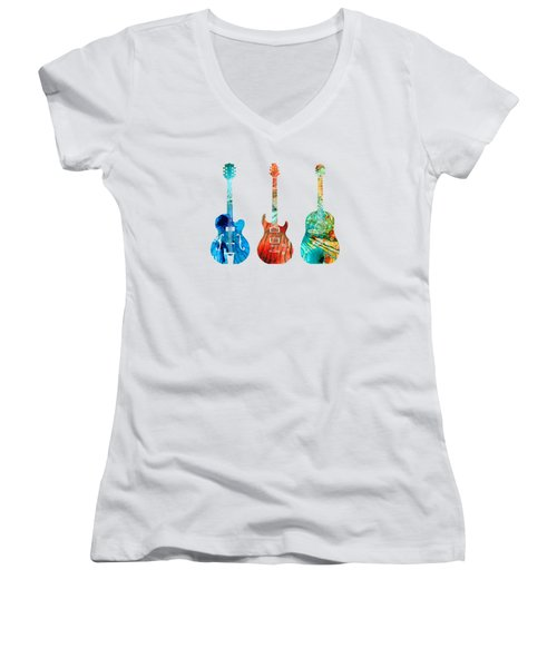 Abstract Guitars By Sharon Cummings Women's V-Neck T-Shirt (Junior Cut) by Sharon Cummings