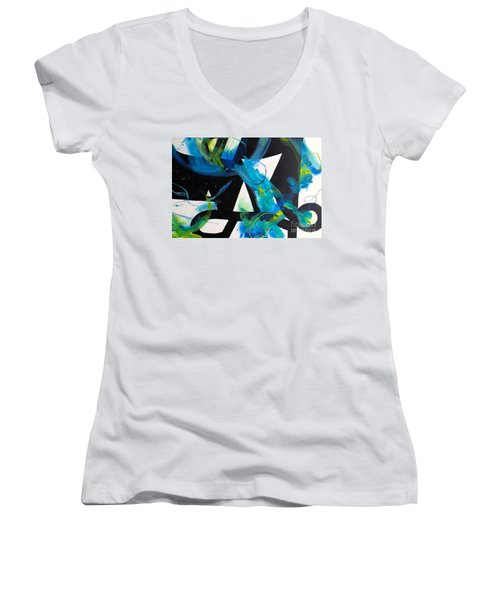 Study In Blue I Women's V-Neck (Athletic Fit)