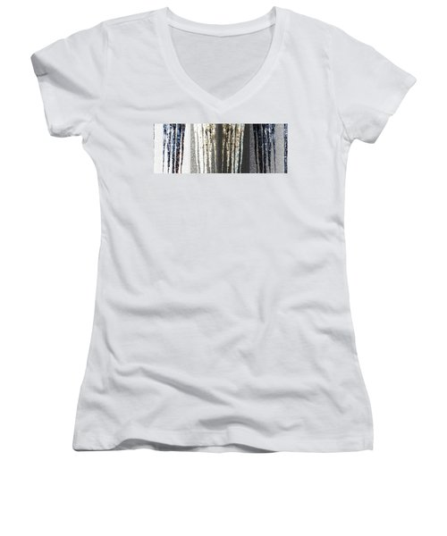 Women's V-Neck T-Shirt (Junior Cut) featuring the digital art Abstract Icicles by Will Borden