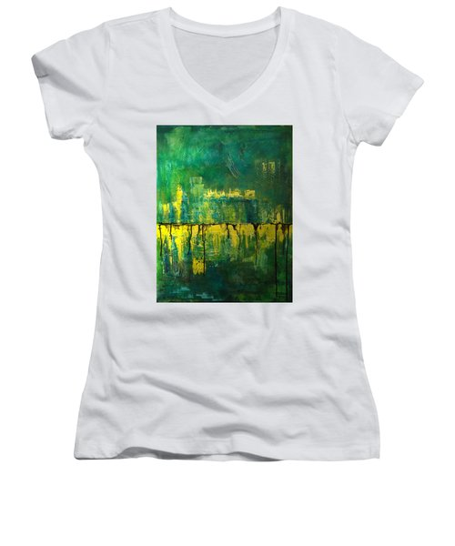 Abstract In Yellow And Green Women's V-Neck T-Shirt (Junior Cut) by Jocelyn Friis