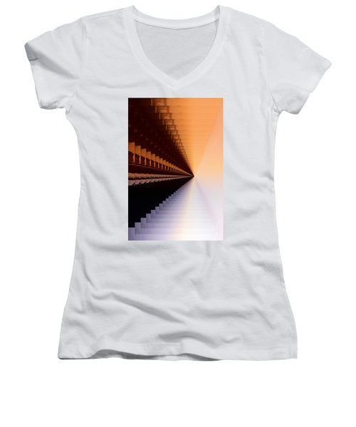 Abstract Industrial Sunrise Women's V-Neck T-Shirt