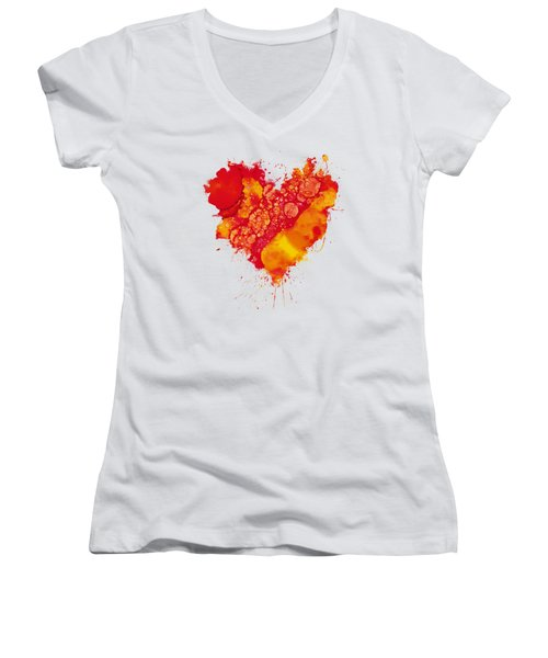 Women's V-Neck T-Shirt (Junior Cut) featuring the painting Abstract Intensity by Nikki Marie Smith