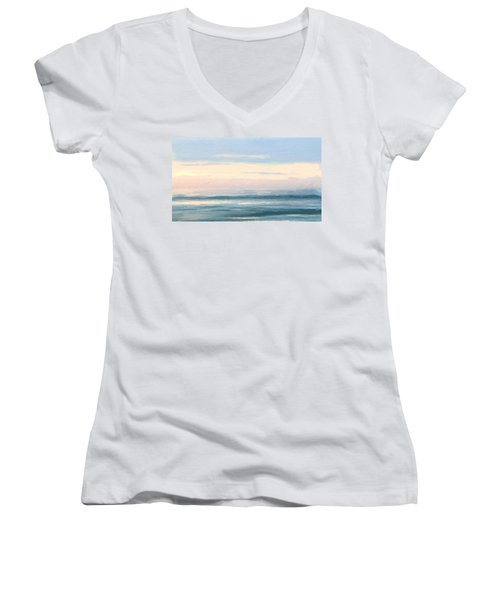 Abstract Morning Sea Women's V-Neck (Athletic Fit)