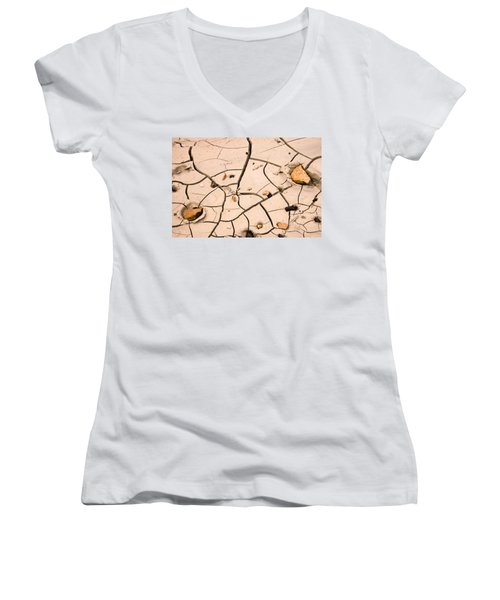 Abstract Mud Flat Pink Saturated Women's V-Neck