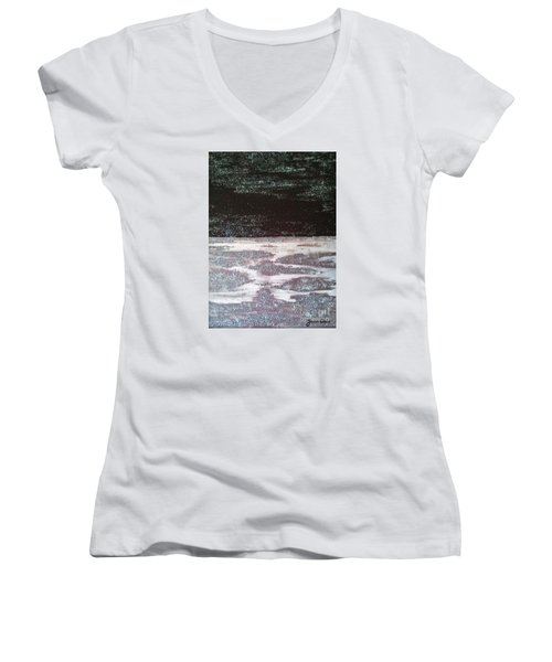 Women's V-Neck T-Shirt (Junior Cut) featuring the painting Abstract Nail Polish Jg7 by Jasna Gopic