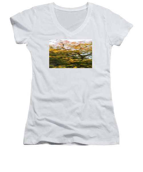 Abstract Of Maple Tree Women's V-Neck