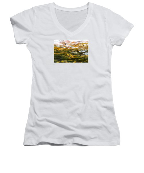 Abstract Of Maple Tree Women's V-Neck (Athletic Fit)