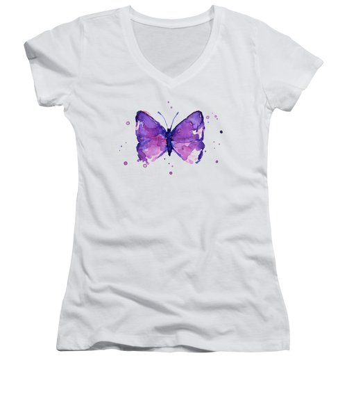 Abstract Purple Butterfly Watercolor Women's V-Neck (Athletic Fit)
