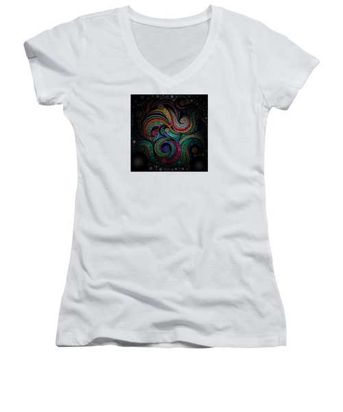 Lace Art Women's V-Neck T-Shirt (Junior Cut) by Sheila Mcdonald