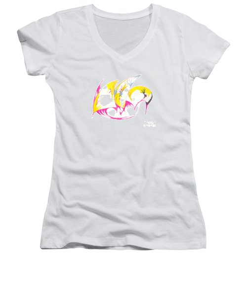 Abstract Swan Women's V-Neck T-Shirt (Junior Cut) by Mary Mikawoz