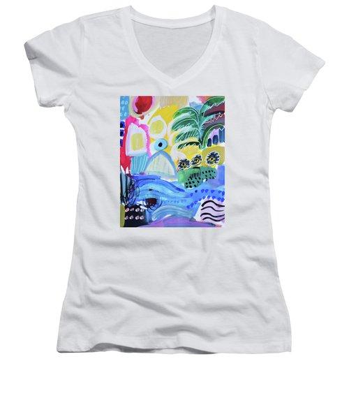 Abstract Tropical Landscape Women's V-Neck T-Shirt (Junior Cut) by Amara Dacer